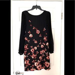 WHBM Black Red Floral Chiffon Sleeves MIDI Dress S